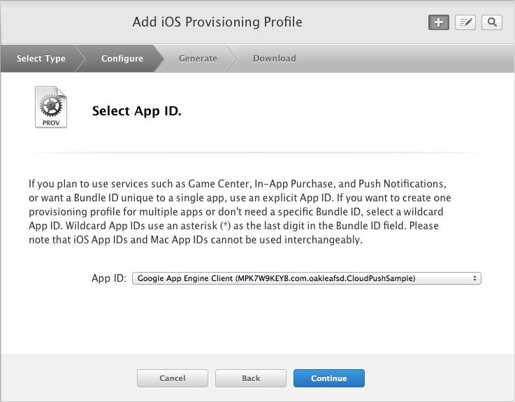 Select App ID