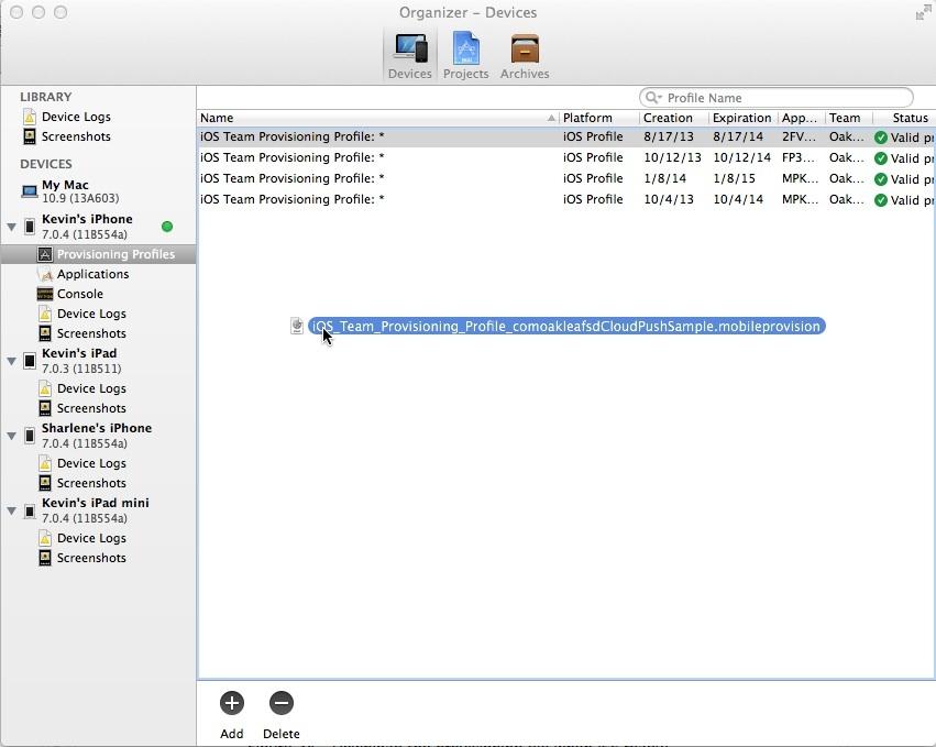 Add Provisioning File to Organizer