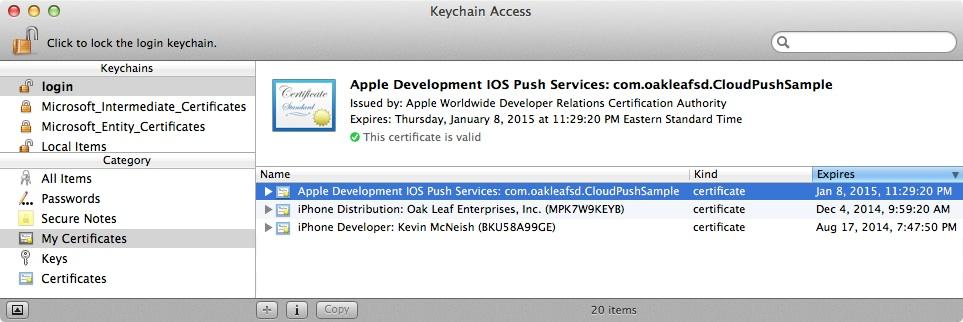 KeyChain Access Window