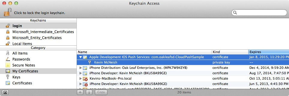 Select Certificate and Key
