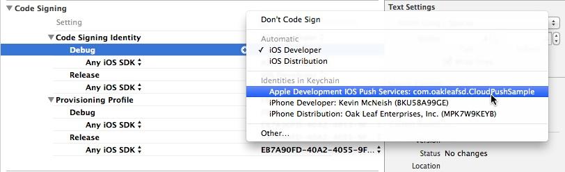 Set code signing identity