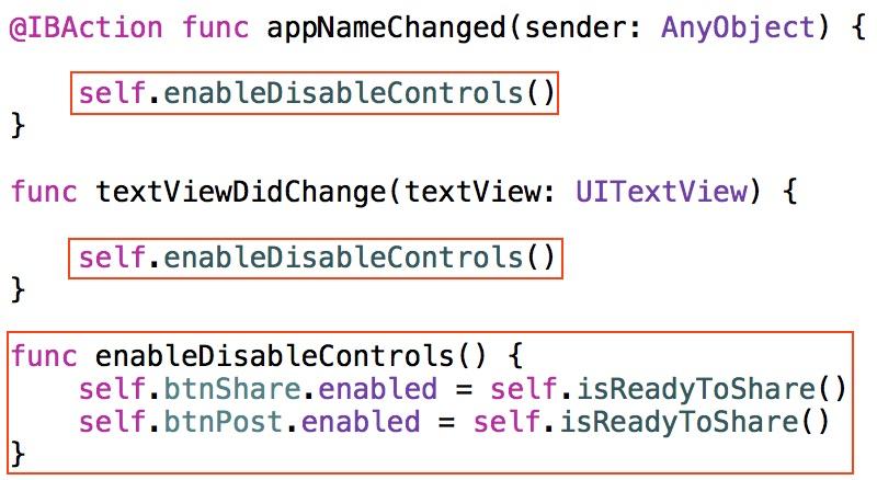 Change the code in isReadyToShare