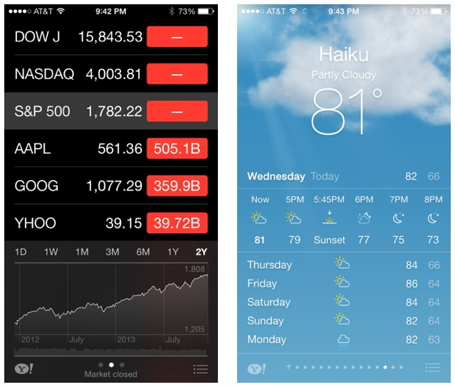 Stocks and weather apps