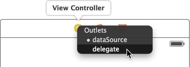 Select the delegate outlet