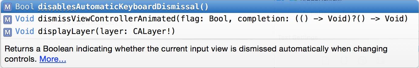 dismiss Code Completion