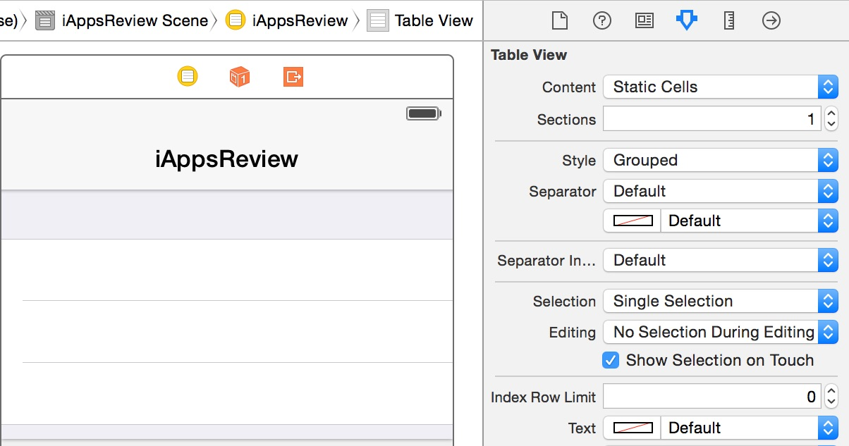 Set the table view style to grouped