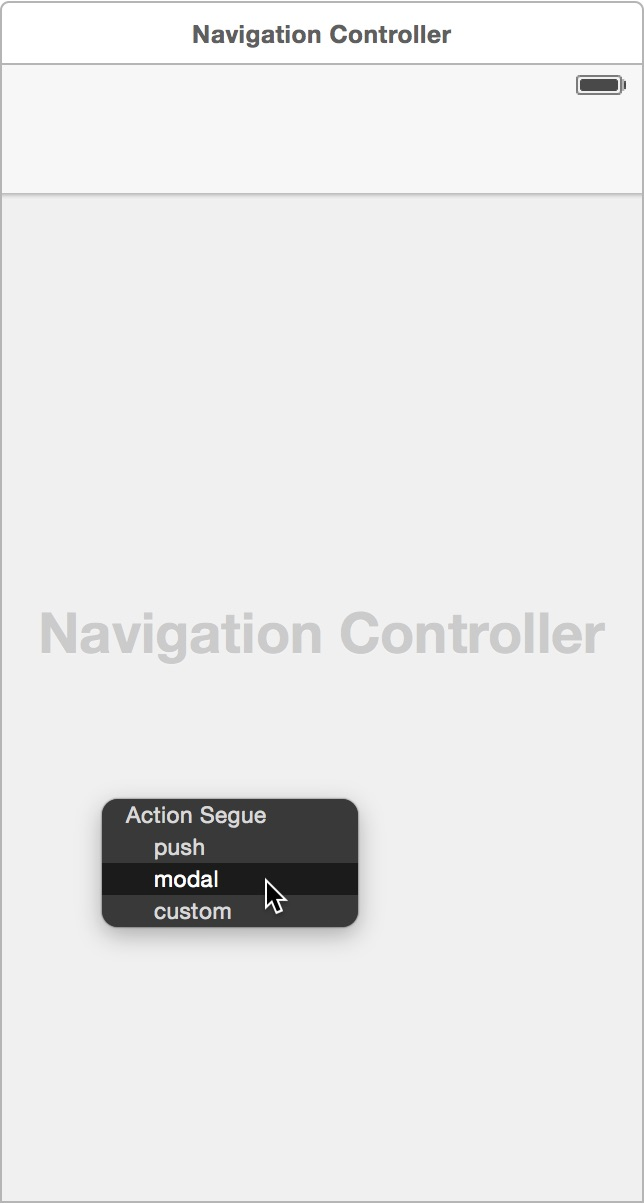 Select modal from the segue popup