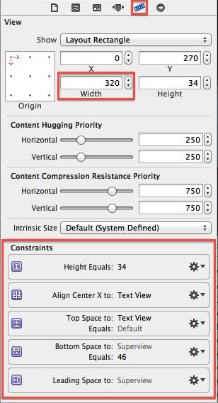 Size Inspector constraints