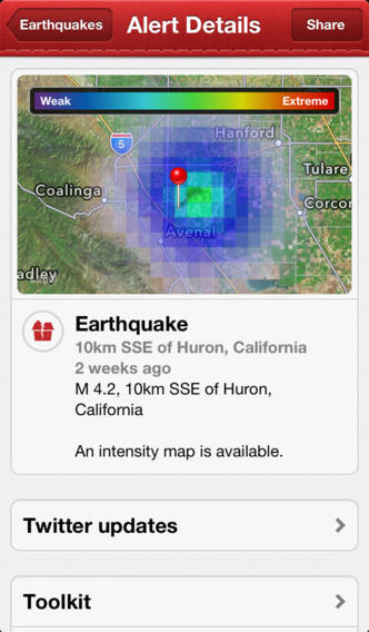 earthquake app screenshot